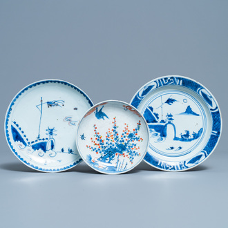 Three Chinese blue, white, copper red and wucai ko-sometsuke plates for the Japanese market, Tianqi/Chongzhen