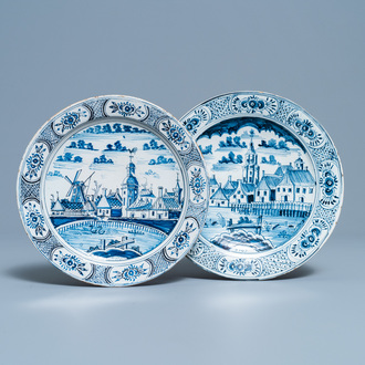 Two blue and white plates with city views, Harlingen, Friesland, dated 1789 and 1790