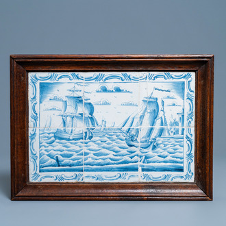 A Dutch Delft blue and white tile mural with ships at sea, 18th C.