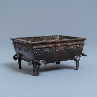A Chinese rectangular lacquered bronze censer, Qing