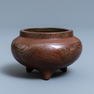 A Chinese silver- and copper-inlaid bronze censer, Xuande mark, 18/19th C.