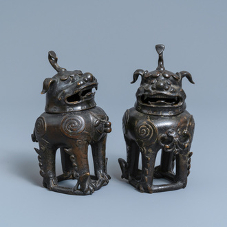 A pair of Chinese gilt-lacquered bronze Chinese 'luduan' censers, Ming