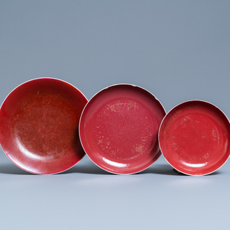 Three Chinese monochrome copper- and ruby-red plates, Qianlong and later