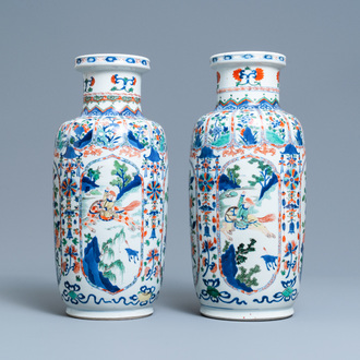 A pair of Chinese famille verte rouleau vases, Kangxi