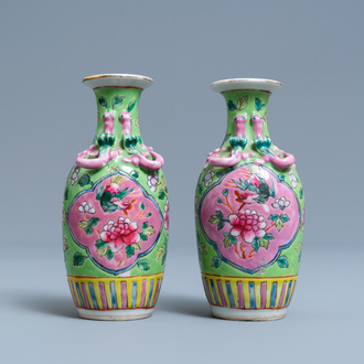 A pair of Chinese famille rose vases for the Straits or Peranakan market, 19th C.
