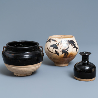 Two Chinese Cizhou pottery vases and a bowl, Song and Ming