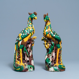 A pair of tall Chinese sancai-glazed models of phoenixes, Republic