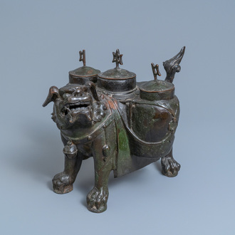 A large Chinese bronze 'lion' censer, Ming
