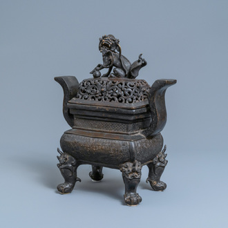 A large Chinese bronze censer and cover, Ming