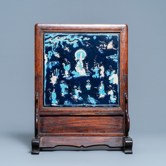 A Chinese square fahua 'Shou Lao' plaque mounted in a wooden table screen, Ming