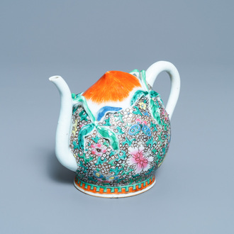 A Chinese famille rose peach-shaped 'cadogan' teapot with applied floral design, Qianlong