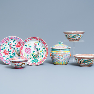 Six Chinese famille rose wares for the Straits or Peranakan market, 19th C.
