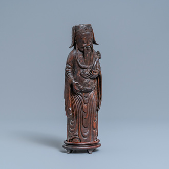 A Chinese bamboo wood figure of Lu Xing, 17th C.
