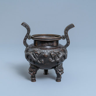 A Chinese bronze tripod censer, seal mark, Qing