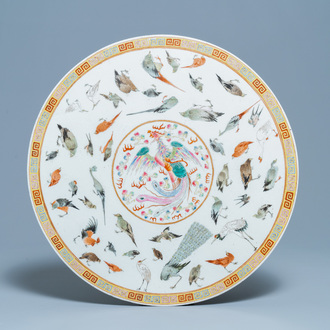 A large round Chinese famille rose 'birds' plaque, 19/20th C.