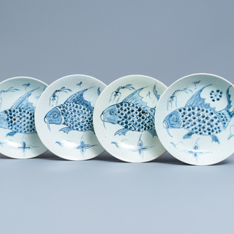 Four Chinese blue and white 'carps and shrimps' dishes, Dehua, 18/19th C.