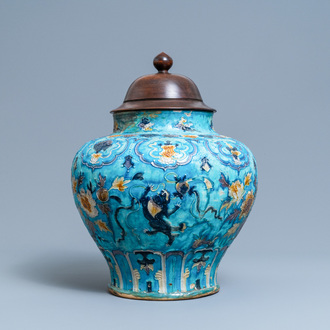 A Chinese fahua vase with Buddhist lions, Ming