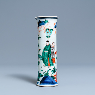 A Chinese wucai 'sleeve' vase, Transitional period
