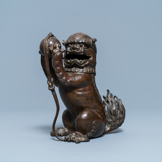 A Chinese lacquered bronze 'Buddhist lion' censer and cover, Ming
