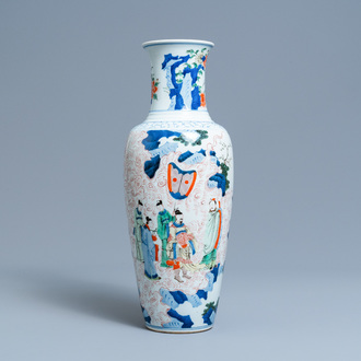 A Chinese wucai vase with continuous figurative design, 19th C.