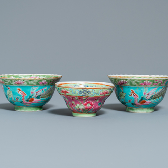 Three Chinese famille rose bowls for the Straits or Peranakan market, 19th C.