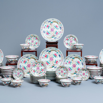 A 56-piece Chinese famille rose service for the Straits or Peranakan market, 19th C.