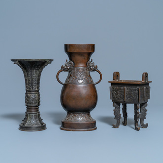 Two Chinese archaic bronze vases and a censer, 18/19th C.