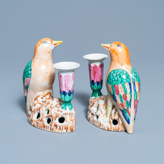 A pair of Chinese famille rose bird-shaped candlesticks, Jiaqing