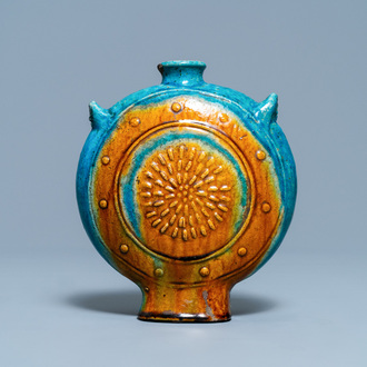 A Chinese turquoise- and ochre-glazed 'moonflask' vase, Ming