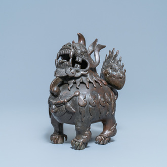 A large Chinese lacquered bronze 'Luduan' censer, Ming