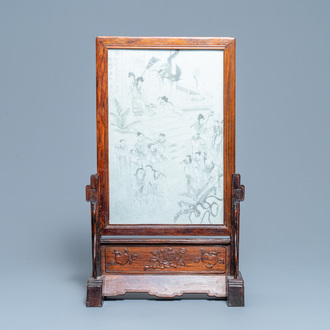 A Chinese wooden table screen with grisaille plaque, 19th C.