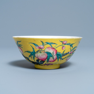 A Chinese famille rose yellow-ground 'nine peaches' bowl, Guangxu mark and of the period