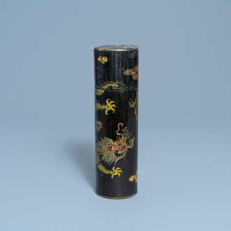 An imperial Chinese cylindrical painted and lacquered wood edict container, 17/18th C.
