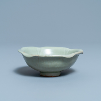 A Chinese Longquan celadon 'turtle in lotus flower' bowl, Song/Yuan