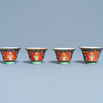 Four Chinese Thai market Bencharong cups, 19th C.