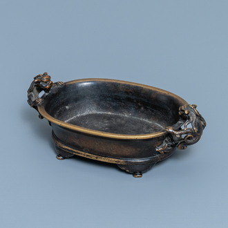 A Chinese chilong-handled bronze censer, Xuande mark, Ming
