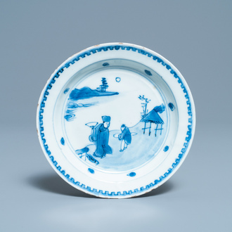 A Chinese blue and white ko-sometsuke plate for the Japanese market, Transitional period