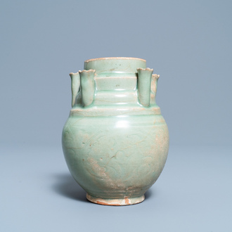 A Chinese Longquan celadon five-spouted urn, Song
