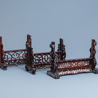 Three Chinese wooden table screen stands, 19th C.