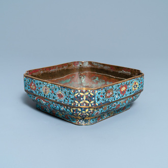 A Chinese square cloisonné bowl, Ming