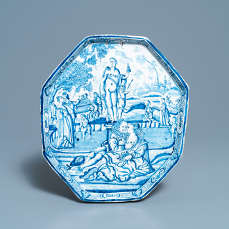 A Dutch Delft blue and white 'erotic subject' plaque, 18th C.