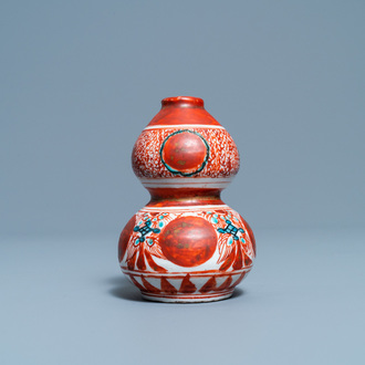 A Chinese polychrome Swatow double gourd vase, Ming