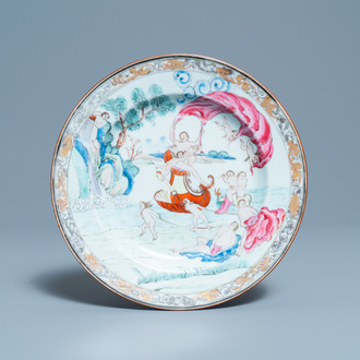 A Chinese famille rose 'Four elements' plate depicting water, Qianlong