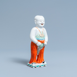 A Chinese famille verte water dropper modelled as a peeing boy, Qianlong