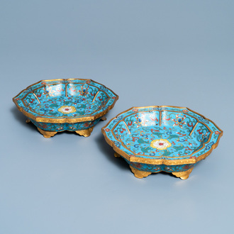 A pair of Chinese cloisonné flower-shaped dishes, Qianlong