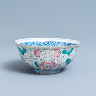 A Chinese famille rose bowl with floral design, Yongzheng mark, 19/20th C.