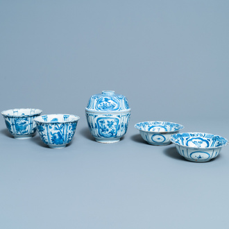 Five Chinese blue and white kraak porcelain bowls, Wanli