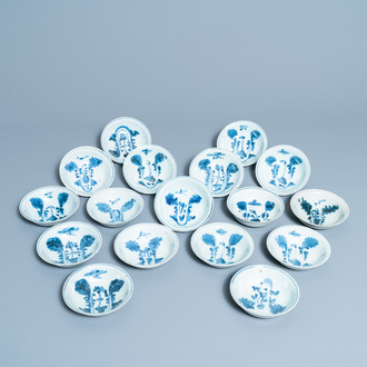 Seventeen Chinese blue and white 'cabbage' bowls, Transitional period