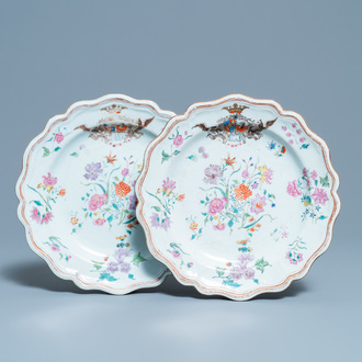 A pair of Chinese famille rose Danish market armorial plates, Qianlong