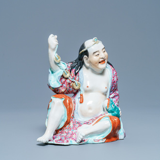 A Chinese famille rose figure of Liu Hai with the toad, seal mark, Republic